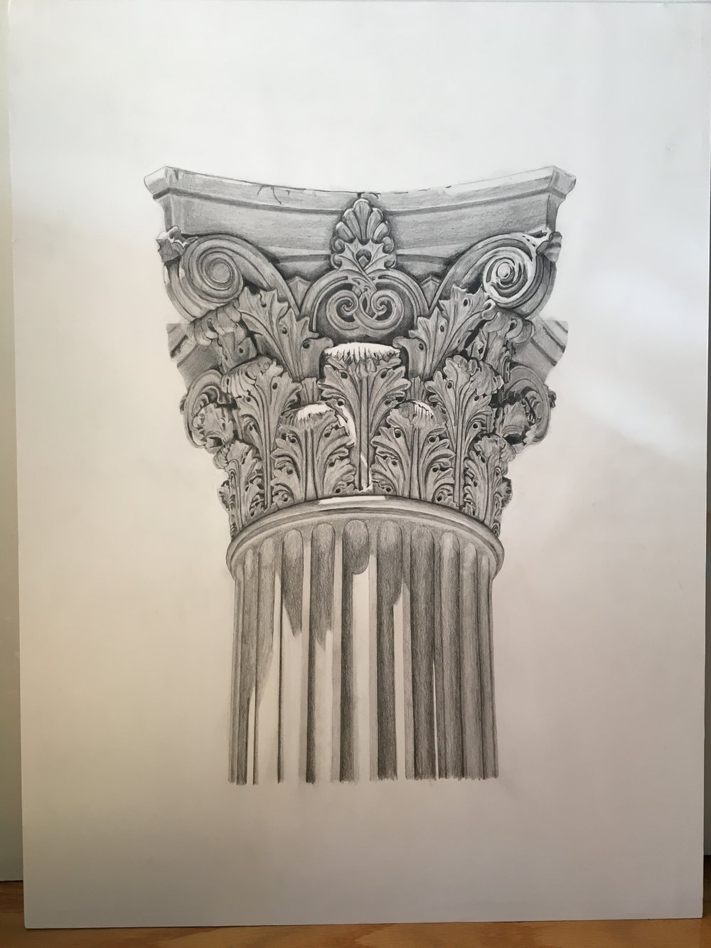 "Corinthian capital<br>Pencil on paper mounted on 18"" x 24"" masonite"