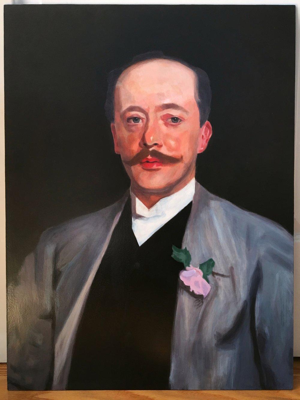 "Portrait of Charles Alexander Giron<br>Acrylic on 18"" x 24"" masonite"
