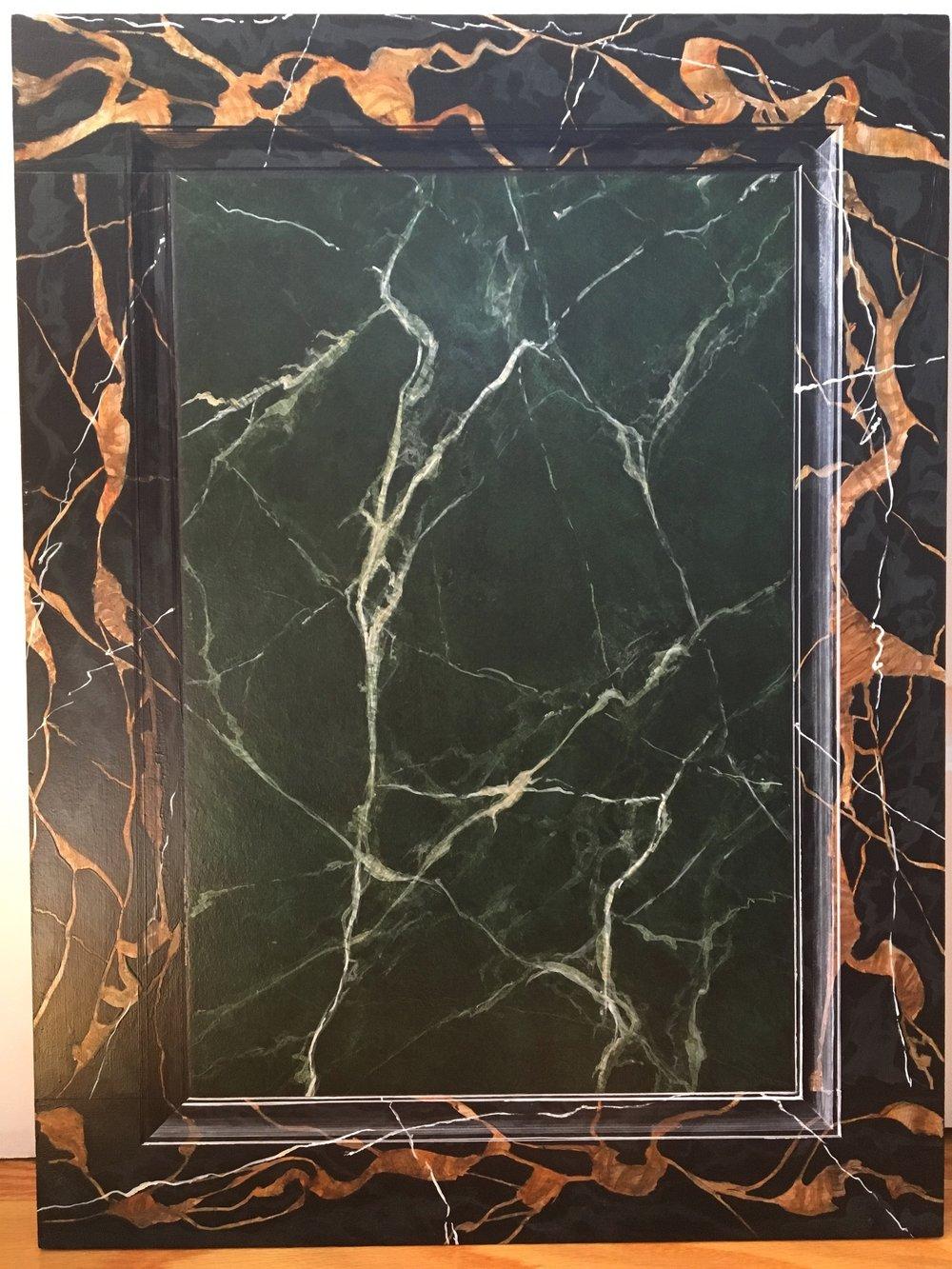"Vert de mer with portor marble frame<br>Acrylic on 18"" x 24"" masonite"