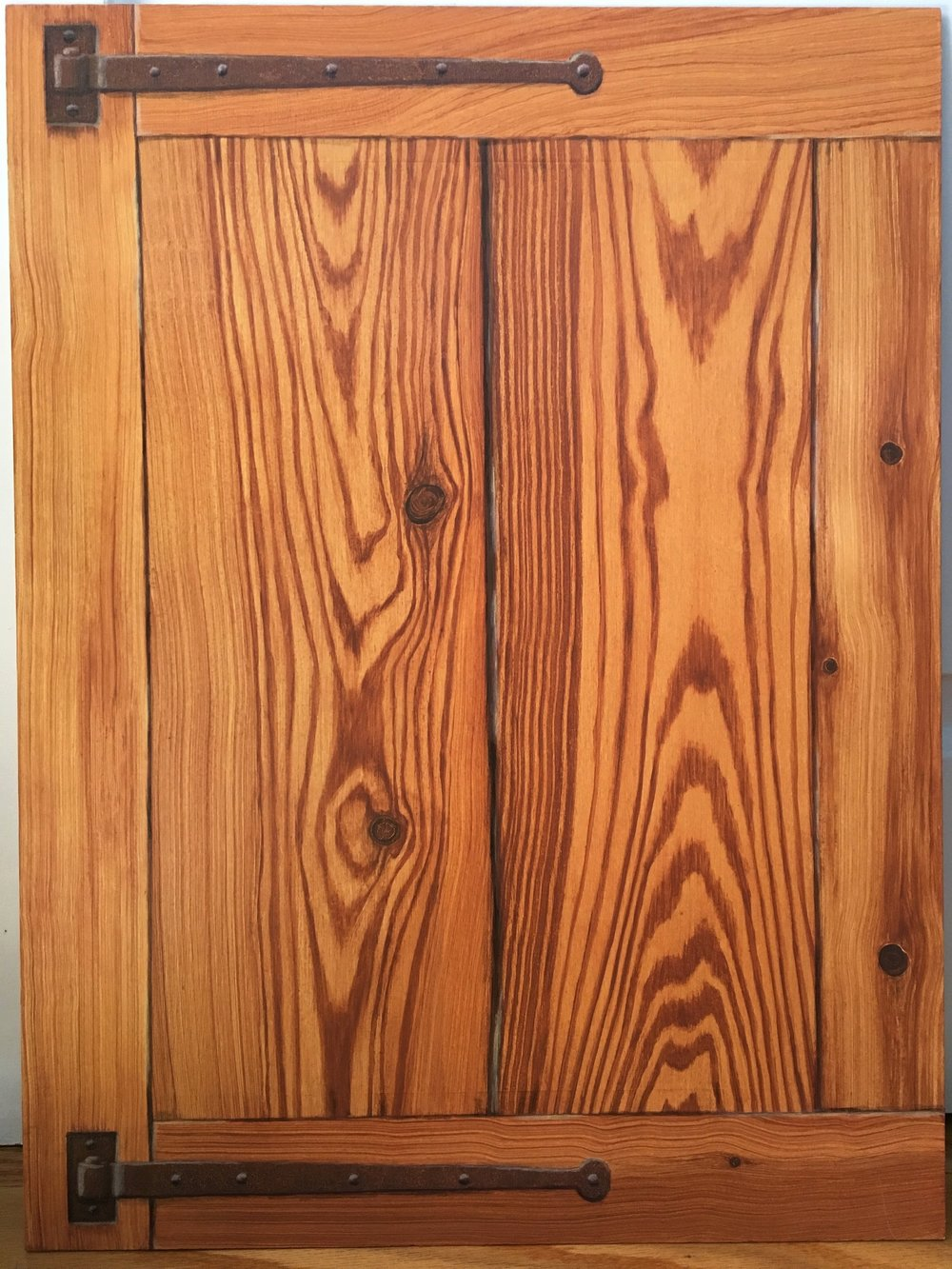 "Longleaf pine with rusty hinges<br>Acrylic on 18"" x 24"" masonite"