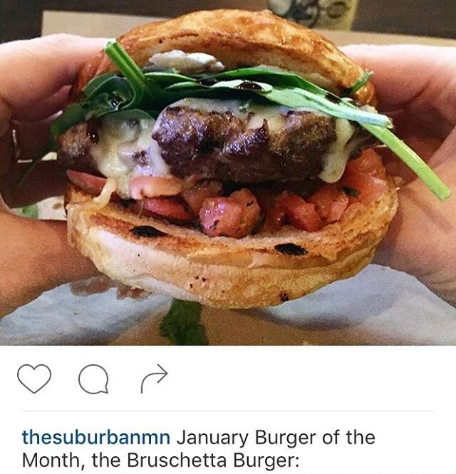 The bruschetta burger? More like the beautiful burger. Try it at @thesuburbanmn