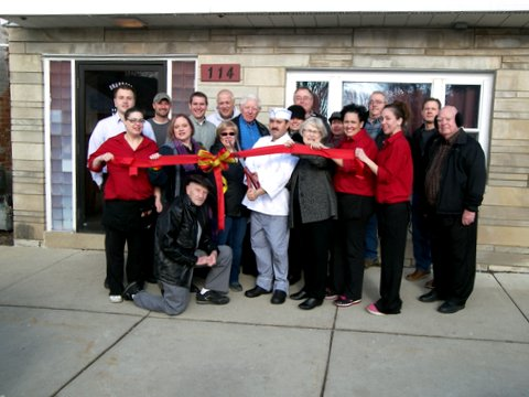 Pictured: Building owners Pat McCormick and Mayor Claudia Hicks, Owner Fred Castno, Staff: Krisite Russell, Naomi Davis, Sarah Burks, Laura Neuberg, WSBA Board and Trustees: Terrie Tuntland, Kathy Sands, Melissa Joyce, Christina Bystry-Busch, John Ecker, Frank Atkinson, Community members and business owners: Jerry Foster, Leon Andelean, Jim Hicks, Denny Sands, Charlie Foster, Scott Schlesinger