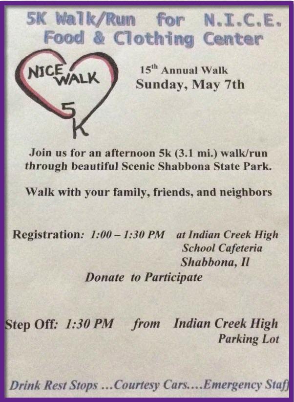 N.I.C.E. WALK May 7th, 2017 Registration