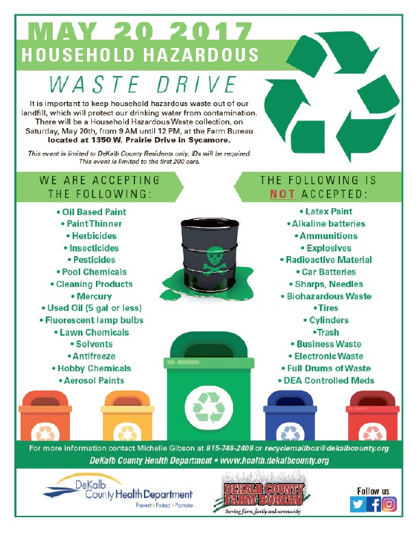 - HOUSEHOLD HAZARDOUS WASTE DRIVEMay 20, 20179am-12pm located at The Farm Bureau, 1350 W. Prairie Drive in Sycamore! This event is limited to DeKalb County Residents only. ID's will be required. This event is limited to the first 200 cars!