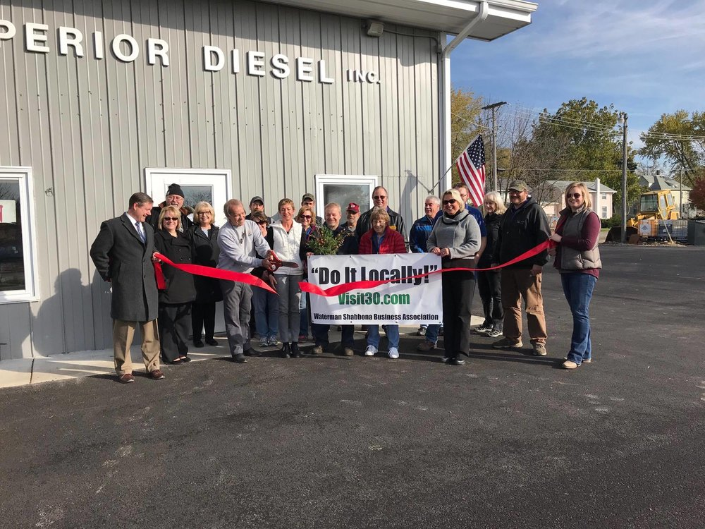 Red Ribbon Cutting Nov. 3, 2017 with Waterman-Shabbona Business Association members at Superior Diesel celebrating their facility improvements.