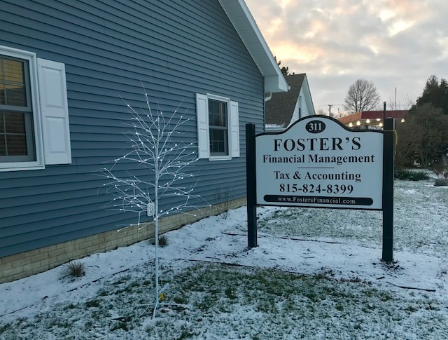 Foster's Financial Management and Foster's Tax & Accounting located at 311 W. Comanche Ave along US Route 30 in Shabbona