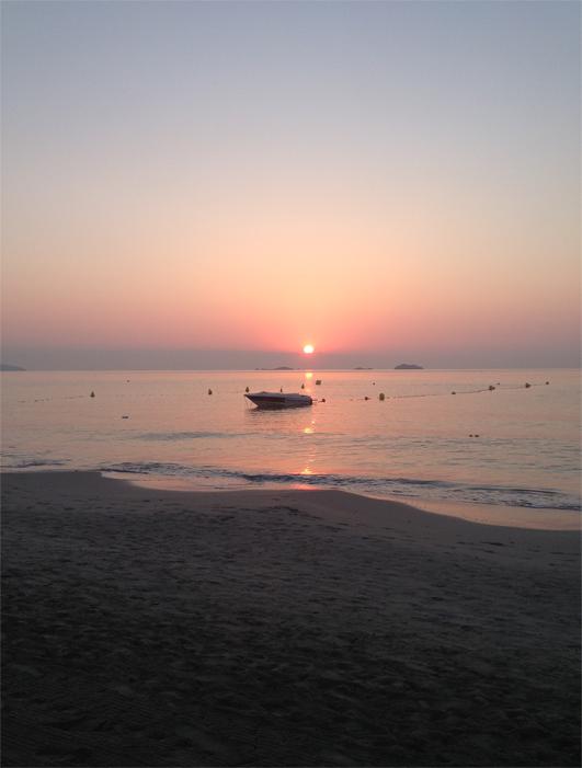 Holiday snapshot I took of Bora Bora Beach sunrise in Ibiza