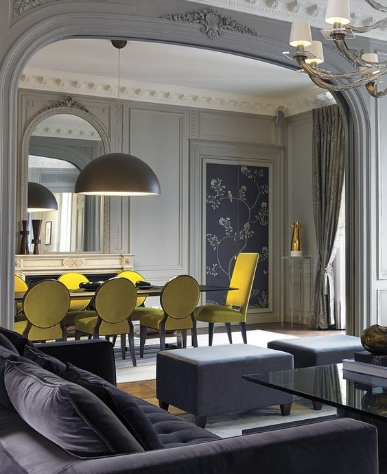 Classic Contemporary Grey and Yellow Dining and Living Space. Image:  Home Design Etc