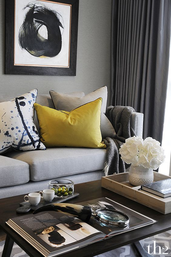 Contemporary Classic Grey Living Room Styled with a touch of Yellow by  th2 Designs