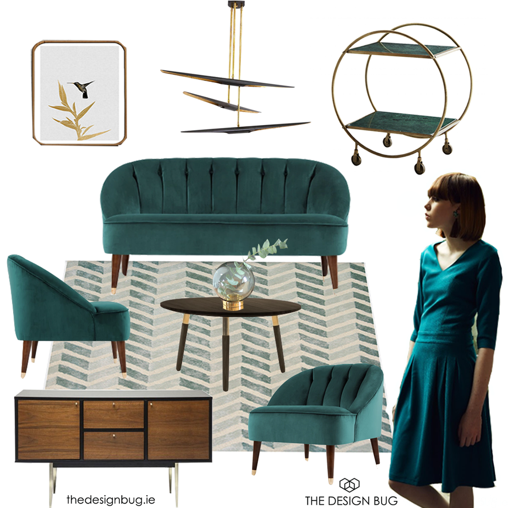 Art Deco style living space inspired by the Matilda dress