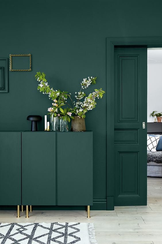 Walls, furniture, doors and surrounds painted in this stunning shade against soft neutral shades on the floor and styled to perfection.  Image:  Pinterest