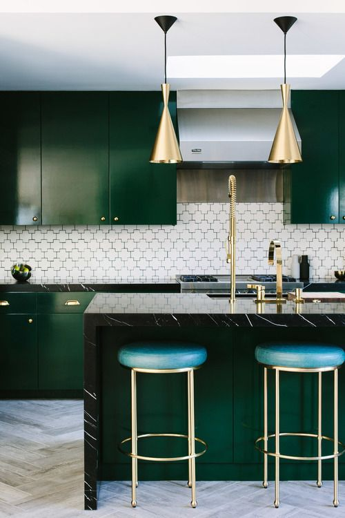 Stunning Emerald Green Kitchen with brass lighting and fixtures and patterned herringbone flooring and backsplash  Image:  Pinterest