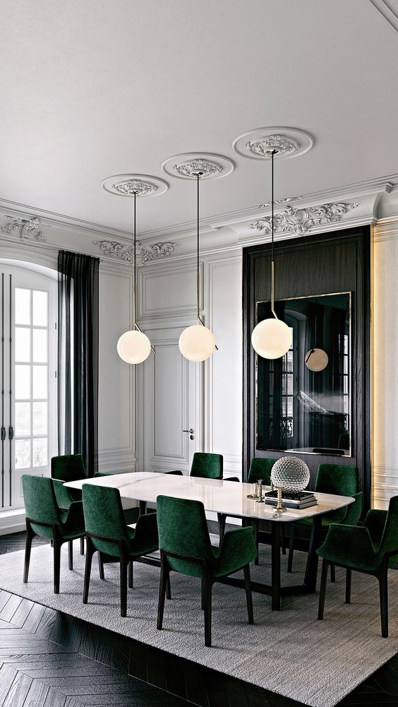 Sophisticated dining/meeting room with marble top table and stylish green chairs in this stunning room. Lovin the lighting and colour palate with the black herringbone floor and soft grey rug  Image:   Pinterest