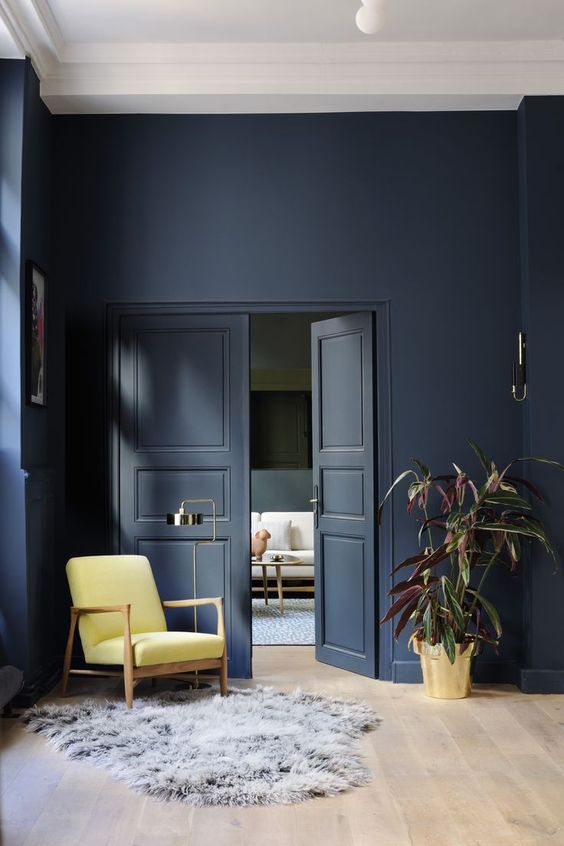 Hague Blue Paint from Farrow & Ball looks stunning against mustard armchair| Image:  Pinterest