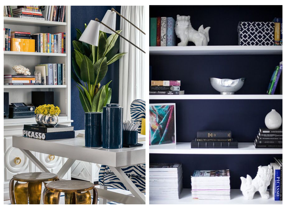 Navy working fabulously against white shelving units & metallic accents | Image L-R: Left: Pinterest | Right: Pinterest
