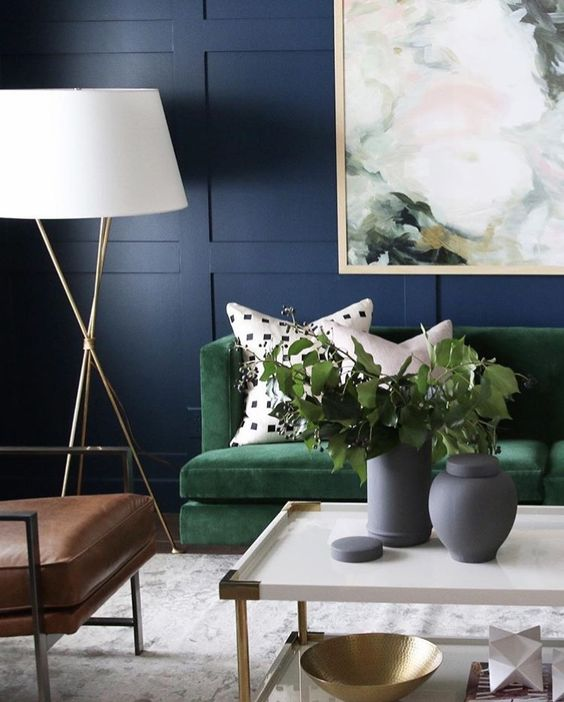 Sophisticated colour palate against the navy panelled walls | Image: Pinterest
