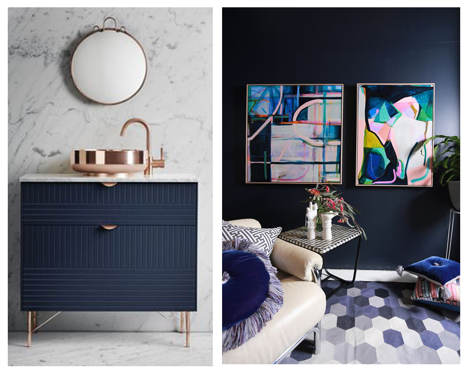 Navy looks exquisite with accents of rose gold, pastel pinks and jewel tones. A look that is en vogue right now in interiors