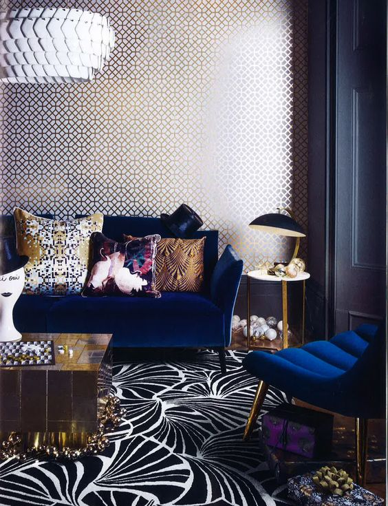 Eclectic interior with navy as a solid colour against a mixture of patterns | Image: Pinterest