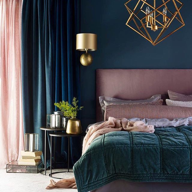 Gorgeous and glamorous mix of gold with deep muted shades and soft and seductive fabrics 💕#thedesignbug 📸 Pinterest . . . . . . #bedroom #gold #navy #glamour #blue #pink #teal #lighting #fabrics #colourpalate  #colour #interiors #interiordesigner #design #decor #interiorinspiration #interiorinspo #inspo #style #homedecor #irishblog #luxeinteriors #interiorblog #interiordecor #interiorstyling #instainteriors #instadecor #instagood #love