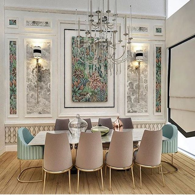 Why decide upon one wallpaper design if you really love two!?! Love the mixing of both @cole_and_son_wallpapers within the panelling in this dining space complimented by the exquisite selection of chairs that are also mixed up to spice up the design with shades drawn from the Singita wallpaper 🤩 The chandelier is so breathtaking and echoes the dramatic but simple colour palate of the Nuvolette cloud wallpaper. The crystals could literally be rain droplets falling from a floating storm cloud above🌧...Amazing design @mer.vecoruh !! 💕 #thedesignbug . . . . . . #wallpaper #diningroom #panelling #glamour #chairs #luxedecor #lighting #colourpalate #colour #interiors #interiordesigner #design #decor #interiorinspiration #interiorinspo #inspo #style #homedecor #irishblog #luxeinteriors #interiorblog #interiordecor #interiorstyling #instainteriors #instadecor #instagood #love
