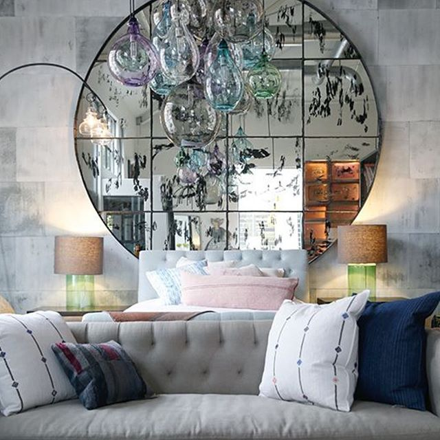 LOVE everything from this bedroom set up from @myciscohome stores in the US. That grand scale mirror literally off the scale  and I love the contrast of grey sofa and concrete walls with the little soft pops of colour in the glass lighting and cushions 💓💓💓 📸 Pinterest #thedesignbug . . . . . . #grey #concrete #mirror #bedroom #sofa #lighting #retail  #colour #interiors #interiordesigner #design #decor #interiorinspiration #interiorinspo #inspo #style #homedecor #irishblog #luxeinteriors #interiorblog #interiordecor #interiorstyling #instainteriors #instadecor #instagood #love