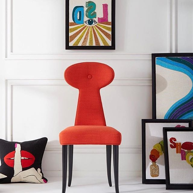 The legend @jonathanadler creates vibrancy with the Vera dining chair and hand-beaded hedonistic pop art and textiles #thedesignbug . . . . . #orange #vintage #glamour #popart #art #hedonism #luxe  #colour #interiors #interiordesigner #design #decor #interiorinspiration #interiorinspo #inspo #style #homedecor #irishblog #luxeinteriors #interiorblog #interiordecor #interiorstyling #instainteriors #instadecor #instagood #love