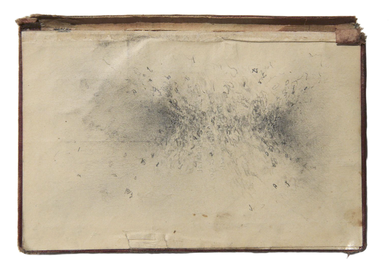 SIN TÍTULO  Técnica: Grafito sobre carátula de libro  Medida: 18,5 x 13 cm  Año: 2014