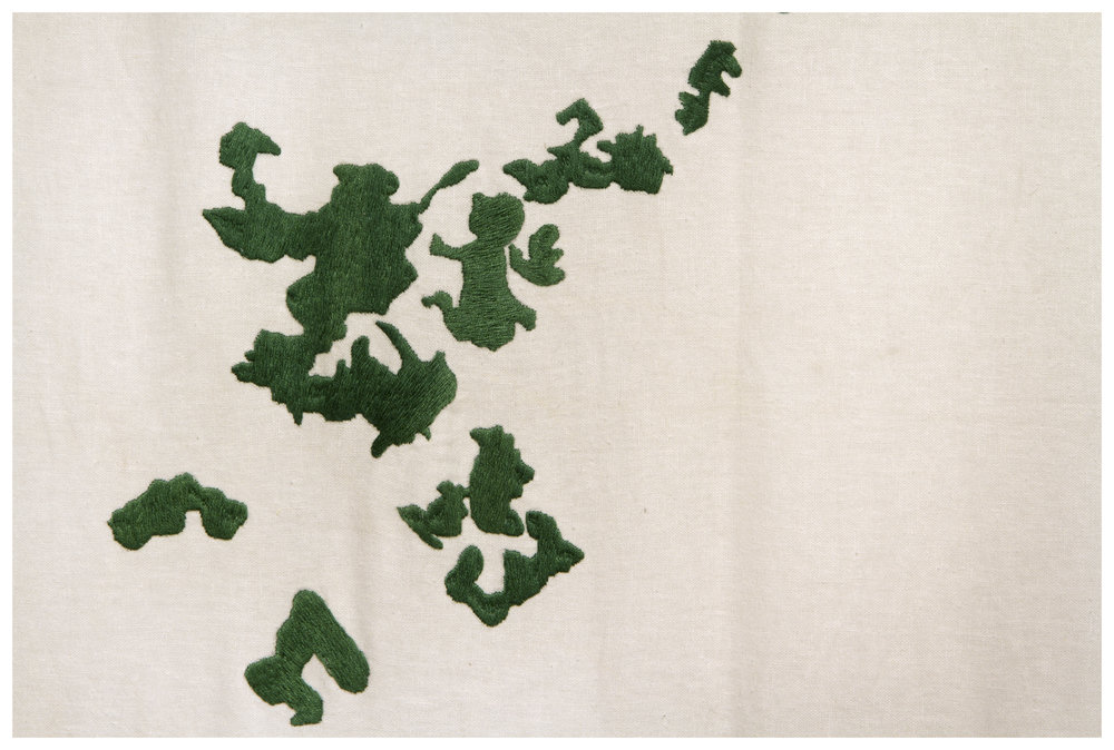 "Detalle ""Oasis"" | Bodado sobre lino italiano; Embroidered on Italian linen | 300 x 600 cm | 2014"
