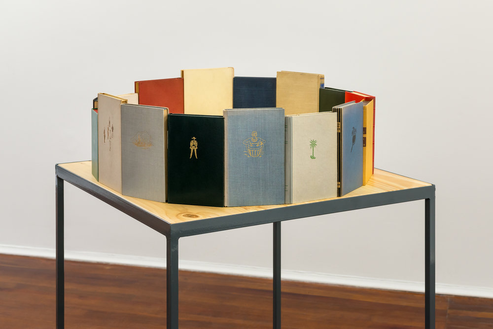 Copy of Narrativas cíclicas, Assemblage with books + metallic table, 2017