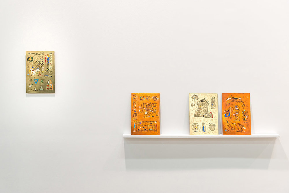 Matias Armendaris, 'Scroll Mirror' (I, II, III, IV), Sculpture, tarnished copper and enamel paint, 6 x 9 in (each), 2017