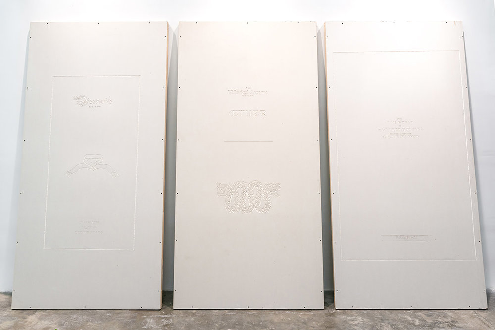 Matias Armendaris, 'Chronicles of the oether', Craving on drywall and wood supports, 95.6 x 48 in (each), 2015