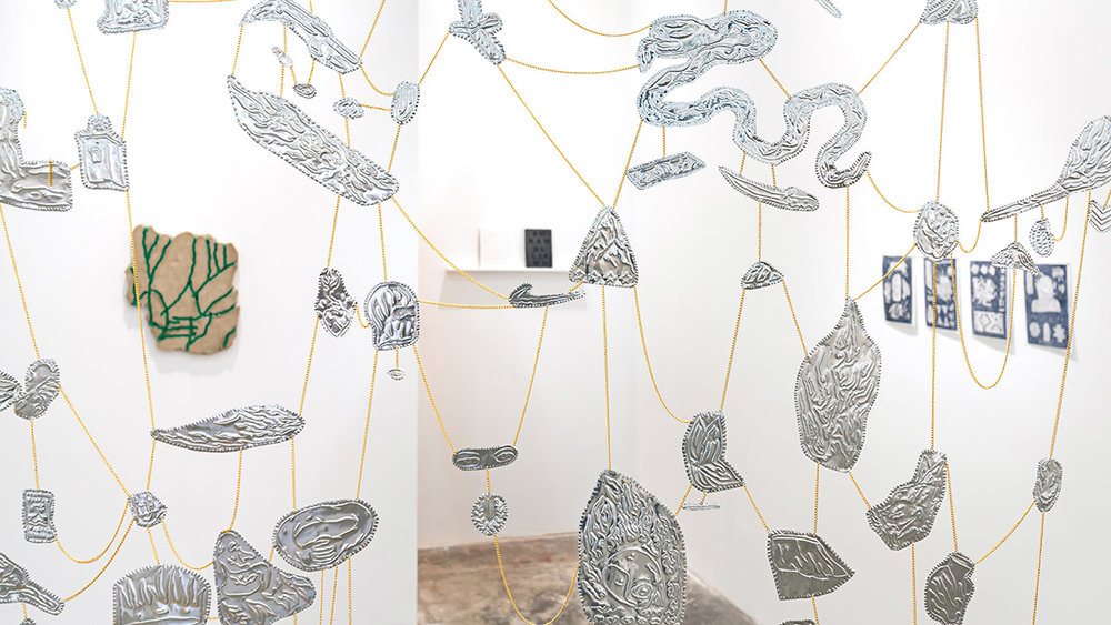Matias Armendaris, 'Iocale' (Detail), Sculpture, hand embossed tin and chains, 72.8 x 66.9 in, 2016