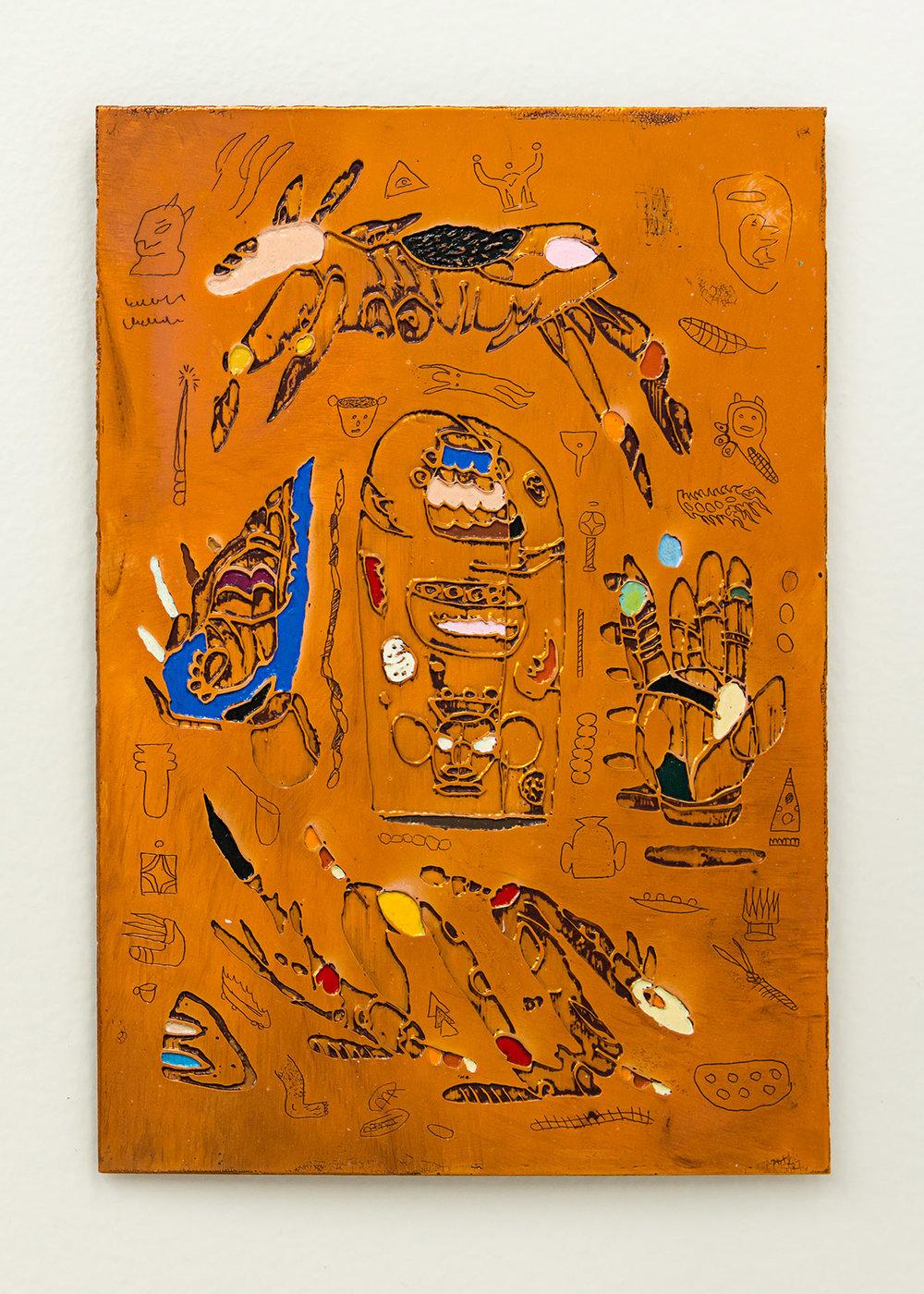 Matias Armendaris, 'Scroll Mirror III', Sculpture, tarnished copper and enamel paint, 6 x 9 in, 2017