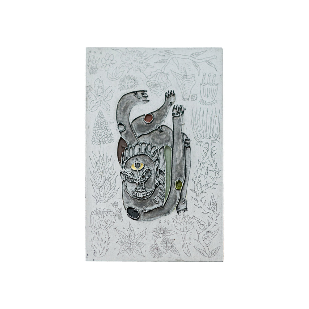 Matias Armendaris, from the series 'Joyas', 'Contorsionista', coated enamel painting on an etched zinc plate, on a tinted wood panel, 4.3 x 2.7 in (plate), 15.7 x 23.6 in (overall measurement), 2018