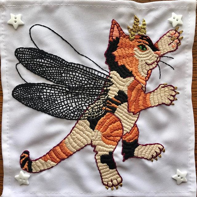 Complete! Fourth and final Chimera Cat: Dragonfly Kitten with Deer Antlers #handembroidery #embroidery #stitchlife #chimera #dmc