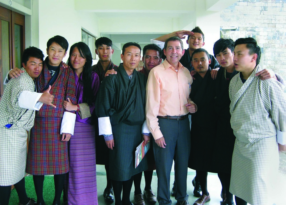 Dr. Kurt Kraus, professor of counseling (fifth from right), with his thesis advisees at Royal Thimphu College in Bhutan.