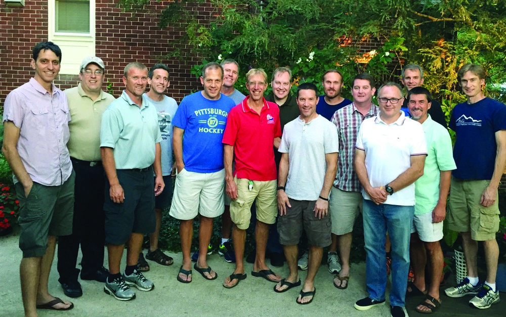 Pictured (from left): Marcus Hudock '94, Karl Krouse, Jim Lebo '91, Duane Ren-ninger '91-'92, Chris Monheim '92-'00M, former Head Coach Bob Walker '98M, current Head Coach Steve Spence '85, Tim Sniffen, Joe Hegge '92, Randy Lowe '92, Dan McCue '92, Steve Hanson, Matt McDonald '92, Paul Drohomirecky '91, and Dan Pszeniczny.