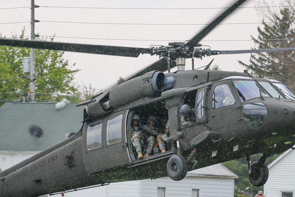 A complex tactical demonstration in April brought a Black Hawk and two Stryker vehicles to campus to illustrate how cadets communicate during a realistic combat situation.