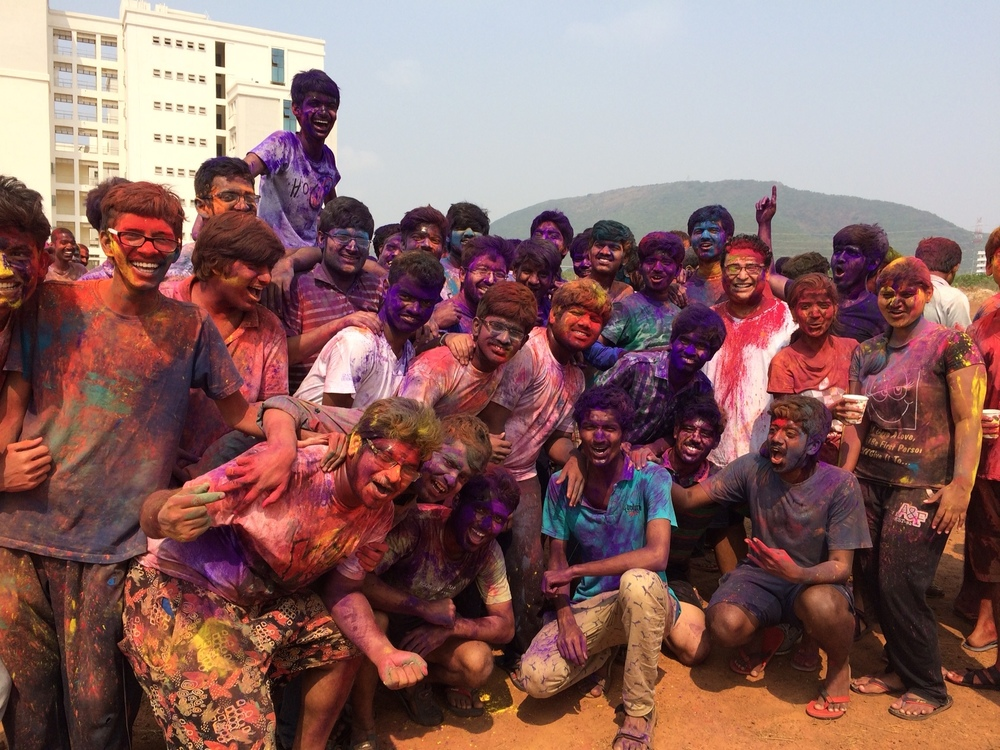 Celebrating the Holi Festival, or Festival of Colors, with his students at the Indian Institute of Technology.