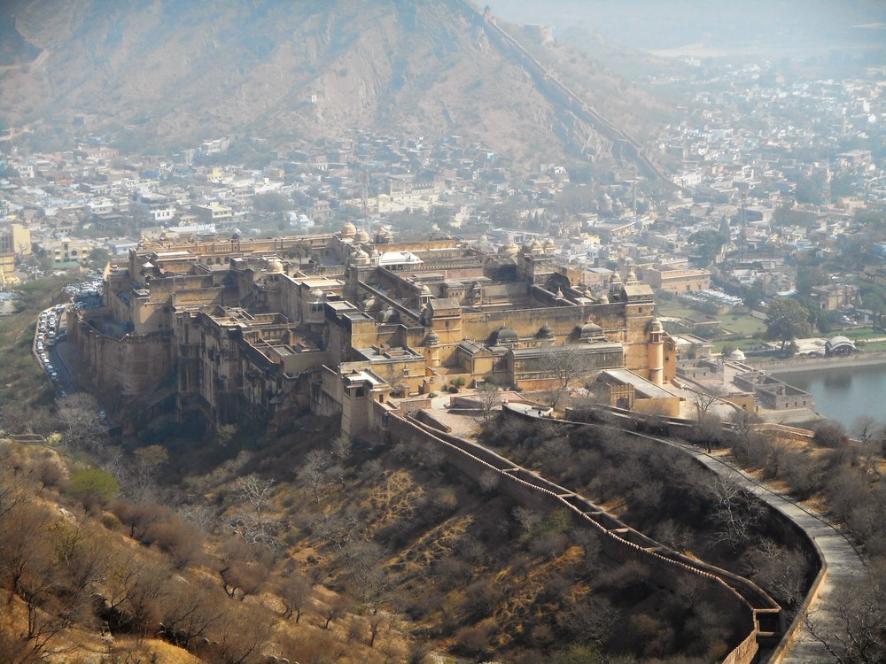 A view of Amber Fort, a tourist attraction in Jaipur, India.