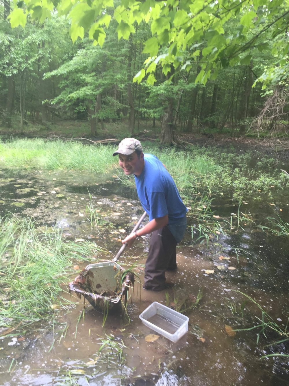 Sophomore Sam Govan searches for newts as part of his summer research in Michaux State Forest.