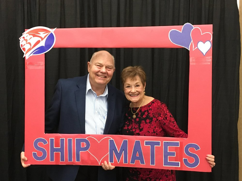 Enjoying the ShipMates reception on campus in February.