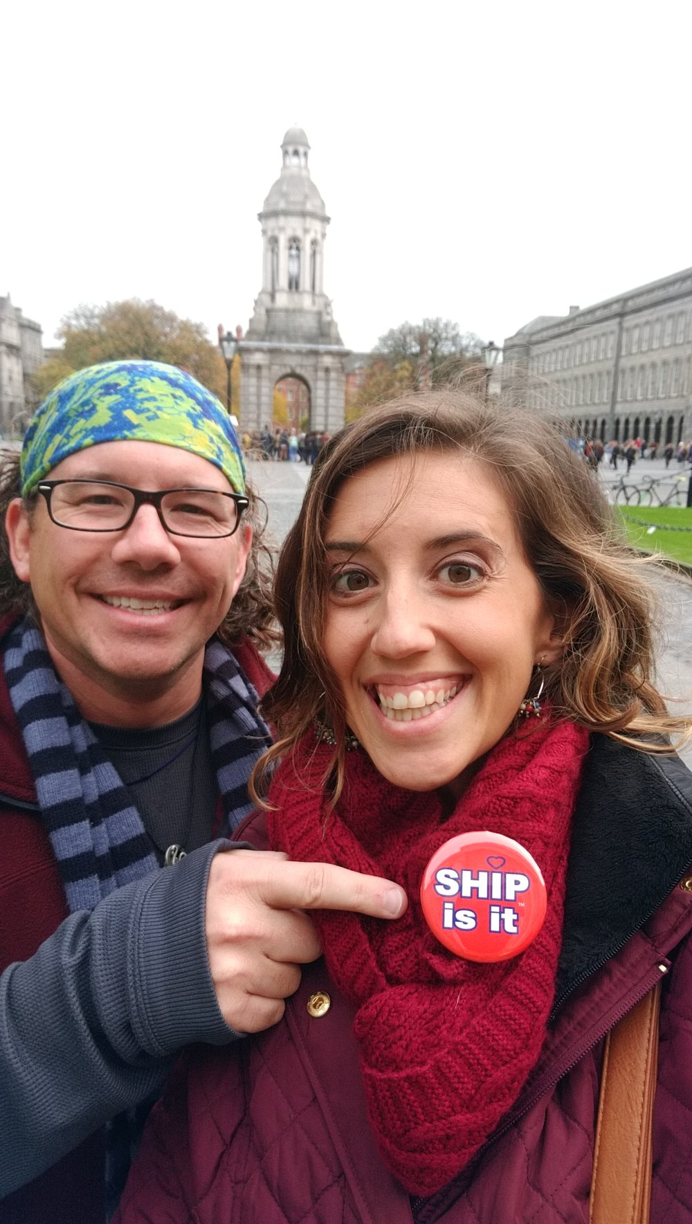 Representing Ship in Dublin, Dr. Matthew Shupp and his wife, Sarah, assistant director of SU's Career and Community Engagement Center, visited Parliament Square at Trinity College, where Sarah spoke with the college's Career Services Center to compare their services to Ship.