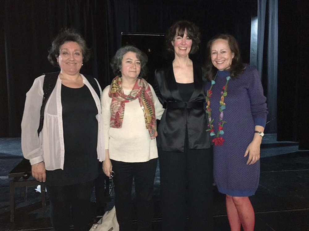 With composers whose music she performed while in Spain, (from left) Marisa Manchado, Mercedes Zavala, Lucia, and Consuela Diez.