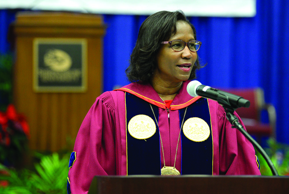 Dr. Laurie Carter addresses Shippensburg's newest graduates during winter commencement.