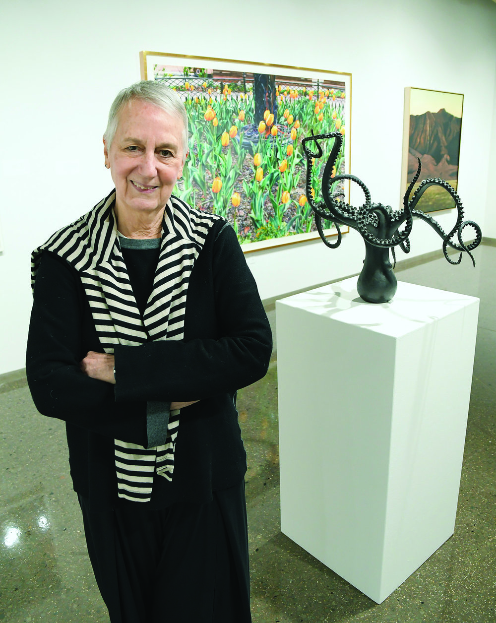 Sique Spence, director of Nancy Hoffman Gallery, visits Kauffman for the exhibit opening.
