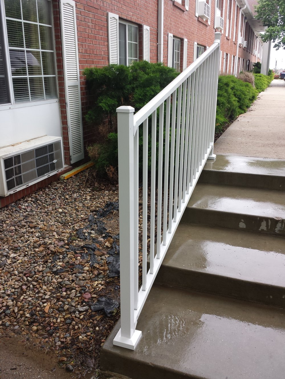 Newly installed handrail on steps