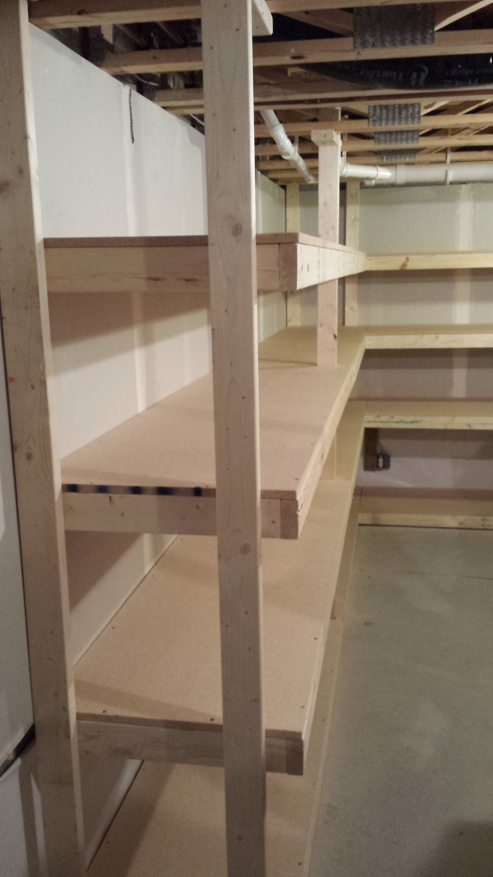 New shelves in basement storage room