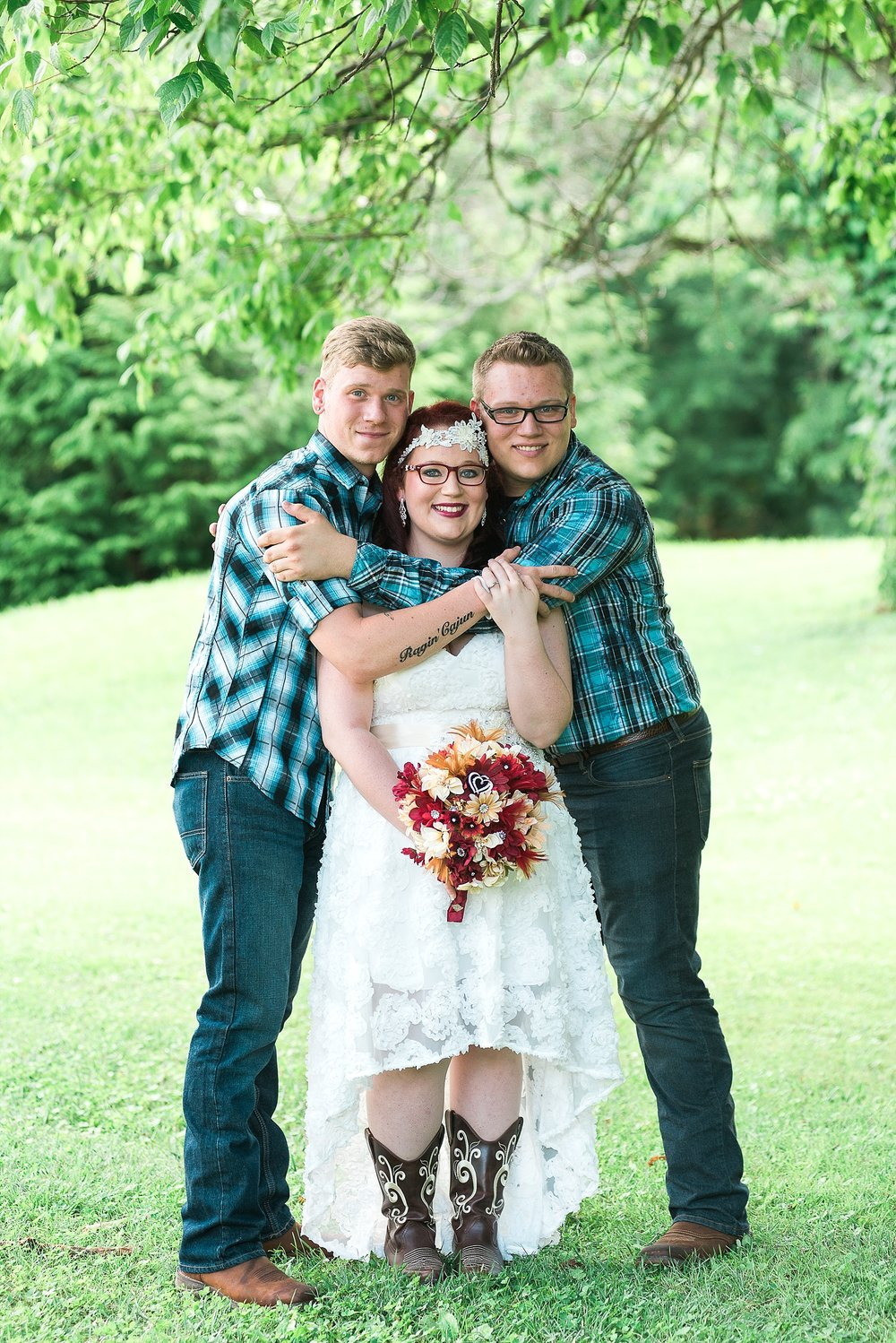 The bride and her brothers