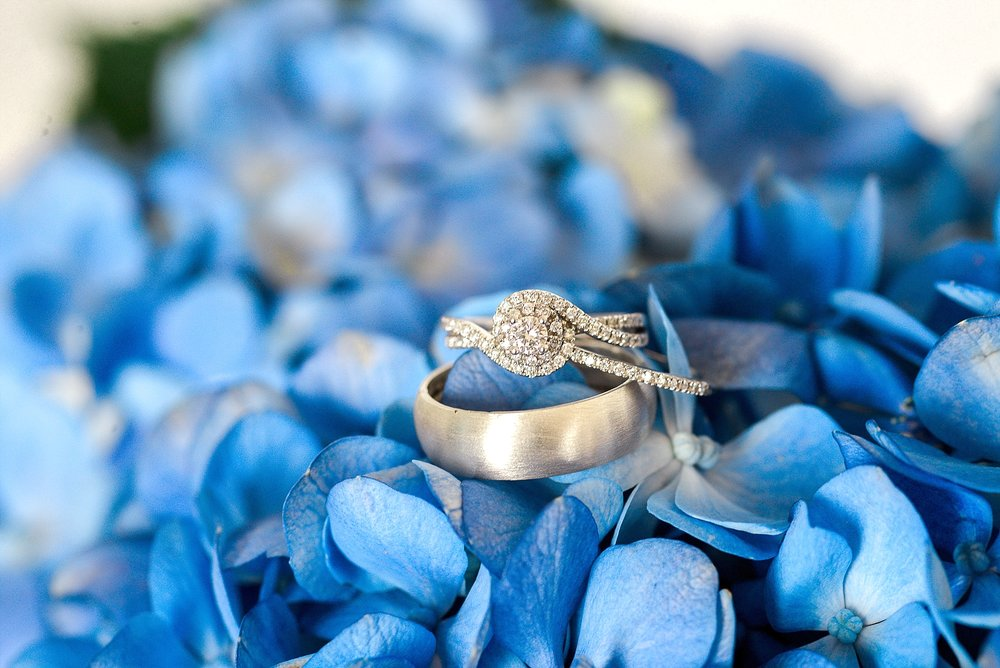 wedding-ring-blue-hydrangeas